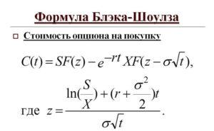 формула определения цены опционов